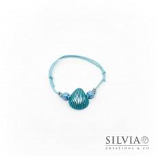 Bracciale cordino cerato con conchiglia azzurro
