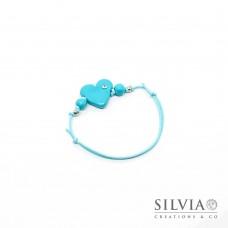 Bracciale cordino cerato con cuore azzurro