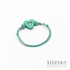 Bracciale cordino cerato con cuore azzurro Tiffany