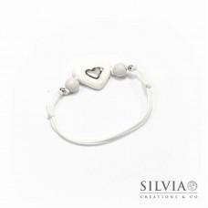 Bracciale cordino cerato con cuore bianco e argento