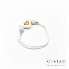 Bracciale cordino cerato con cuore bianco e oro