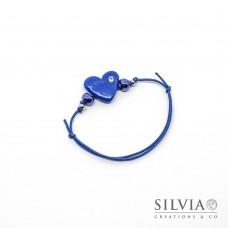 Bracciale cordino cerato con cuore blu