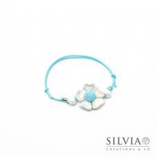 Bracciale cordino cerato con fiore bianco e azzurro