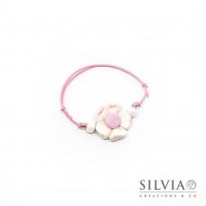 Bracciale cordino cerato con fiore bianco e rosa