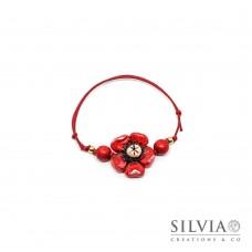 Bracciale cordino cerato con fiore rosso