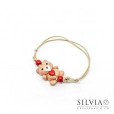 Bracciale cordino cerato con orsetto peluche e cuore rosso