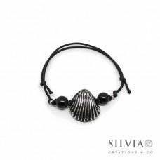Bracciale cordino cerato con conchiglia nera e argento
