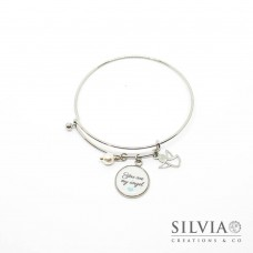 "Bracciale bangle in acciaio con frase ""You are my Angel"""
