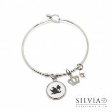 Bracciale bangle Alice in Wonderland inspired con bianconiglio