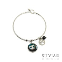 Bracciale bangle in acciaio Alice in Wonderland inspired con Stregatto