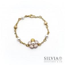 Bracciale a rosario con fiore beige e perla bianca