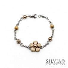 Bracciale a rosario con fiore beige e perla bronzo