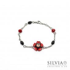 Bracciale a rosario con fiore rosso