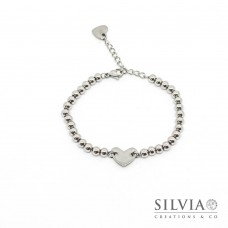 Bracciale con perle acciaio e cuore centrale