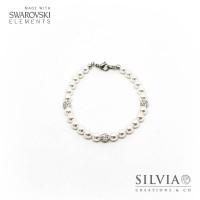 Bracciale con perle Swarovski bianche da 6 mm e perle pavè