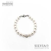 Bracciale con perle Swarovski bianche da 8 mm e perle pavè