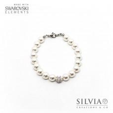 Bracciale con perle Swarovski bianche da 8 mm e perla pavè