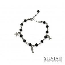 Bracciale stile rosario con cristalli neri e ciondoli a tema mare