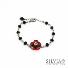 Bracciale a rosario con fiore papavero rosso