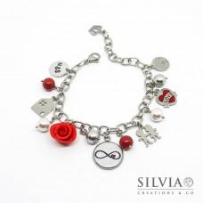 Bracciale acciaio a tema amore con charms, perle e disco per incisione