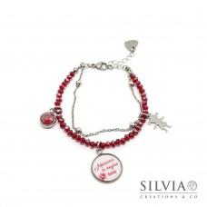 """Bracciale catena acciaio e cristalli rubino con scritta """"Mamma ti voglio bene"""" e charms"""