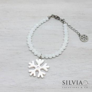 Bracciale con cristalli a rondella bianco opale e ciondolo fiocco di neve