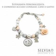 Bracciale personalizzato con fotografia del vostro amico a 4 zampe e charms