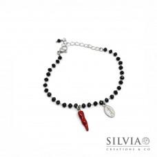 Bracciale catena acciaio con cristalli neri cornetto rosso e charm madonna