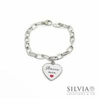 Bracciale catena acciaio e ciondolo a forma di cuore con scritta Amica Mia
