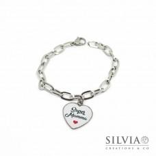 Bracciale catena acciaio e ciondolo a forma di cuore con scritta Super Mamma