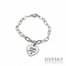 Bracciale catena acciaio e ciondolo a forma di cuore con scritta Super Nonna