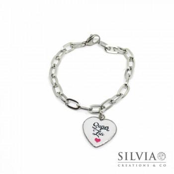 Bracciale catena acciaio e ciondolo a forma di cuore con scritta Super Zia