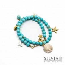 Bracciale doppio giro o choker con perle di turchese da 6 mm e charms mare