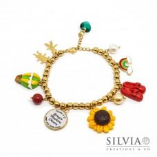 Bracciale con perle acciaio color oro e charms ispirati al Mago di Oz