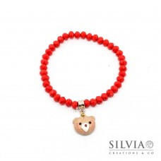 Bracciale elastico con cristalli rossi e musetto orsetto peluche