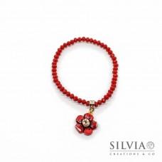 Bracciale cristalli 3x4 mm con fiore rosso