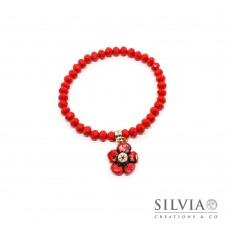 Bracciale cristalli 4x6 mm con fiore rosso