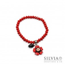 Bracciale cristalli con fiore rosso e cristallo nero a goccia