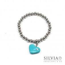Bracciale perle acciaio con cuore azzurro e strass
