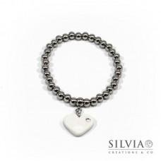Bracciale perle acciaio con cuore bianco e strass