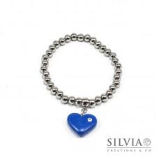 Bracciale perle acciaio con cuore blu e strass