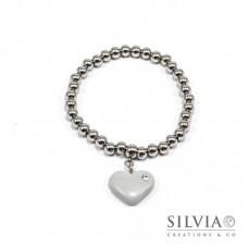 Bracciale perle acciaio con cuore grigio e strass