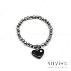 Bracciale perle acciaio con cuore nero e strass