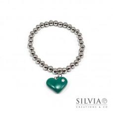 Bracciale perle acciaio con cuore verde smeraldo e strass