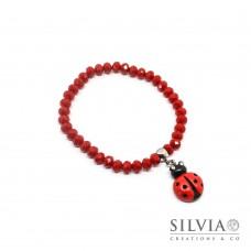 Bracciale elastico con cristalli rossi da 4x6 mm e coccinella rossa