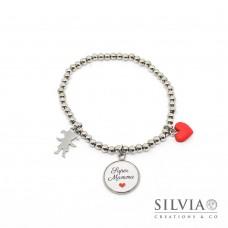 """Bracciale elastico perle acciaio con frase """"Super Mamma"""" cuore rosso e bambina"""