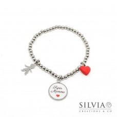 """Bracciale elastico perle acciaio con frase """"Super Mamma"""" cuore rosso e bambino"""
