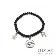 """Bracciale elastico cristalli neri ciondolo con scritta """"Mamma ti voglio bene"""" simbolo infinito e charms"""