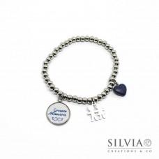"""Bracciale elastico perle acciaio ciondolo """"Grazie Maestra"""" e charms"""