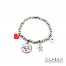 """Bracciale elastico perle acciaio ciondolo """"TVB Mamma"""" e charms"""